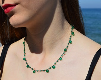 Green Onyx Necklace, May Birthstone Necklace, Layerig Necklace, Green Tear Drop Stone, Green Gemstone Necklace, Birthday Gift