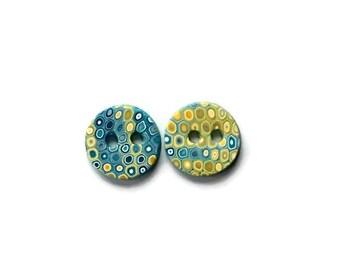 Decorative Buttons - Polymer clay buttons - Knitting Supplies - Handmade Buttons - Extra Small Mustard Yellow Buttons - Decorative Buttons