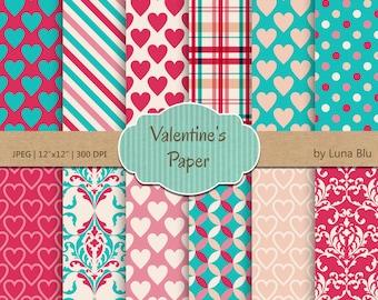 """Valentine Digital Paper: """" Valentine Paper"""" turquoise, pink and peach love digital paper, valentine scrapbook paper"""