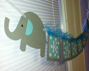 Elephant name banner, Elephant baby shower banner, Elephant name banner, Elephant happy birthday banner, elephant banner