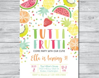 Tutti Frutti Birthday Invitation, Tutti Frutti Party, Summer Party Invitation