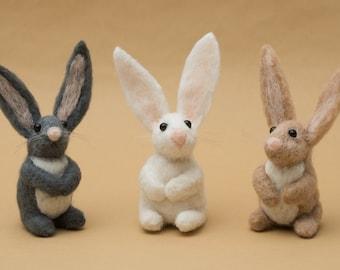 Bunny needle felted handmade wool rabbit 6 inch