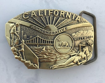 Vintage Belt Buckle California Commemorative Solid Brass 1984 Baron Buckle Limited Edition