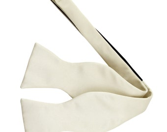 New Men's Solid Ivory Self-Tie Bowtie, for Formal Occasions