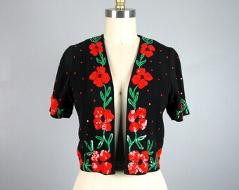 Vintage 1940s Sequin Blouse 40s Red and Green Sequin Short Sleeved Jacket Size S/M