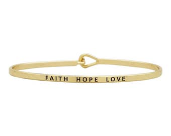Faith Hope Love  - Engraved bracelet, gift for her, stacking bangles, boho jewelry, thin bangle, layering, gift for wife, personalized