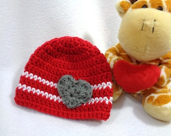 Valentines Day Baby Hat, Crochet Red and White Cap, MADE TO ORDER by Charlene, Gray Heart, Valentines Day Photo Prop, Twins or Triplets