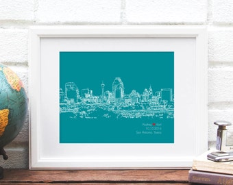 San Antonio Skyline Art, San Antonio Skyline, Personalized San Antonio Art, San Antonio Wedding Gift, Anniversary, Texas, Engagement Gift