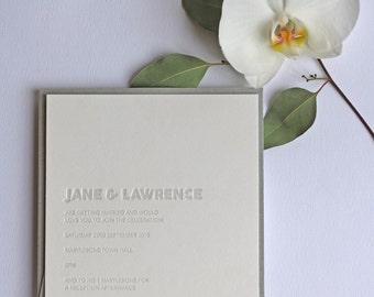 Embossed Letterpress Wedding Invitation Sample
