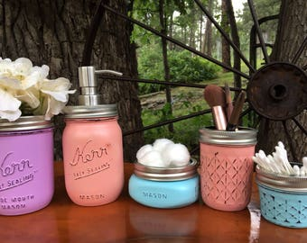 Mason jar bathroom set- mason jars- farmhouse decor- rustic bathroom set- mason jar soap dispenser-housewarming gift-wedding gift