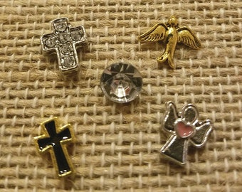 Set of 4 Faith Theme Floating Charms made for memory lockets