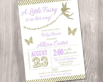 Fairy baby shower invitation, enchanted baby shower invitation, lavender, gold, fairy princess invitation, digital, Printable Invitation