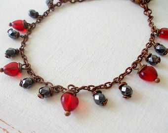 Bohemian bracelet, valentines gift ,handmade bracelet  red hearts and anthracite beads glass pendants and brunette chain, boho jewelry