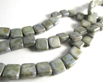 Chalk Lumi Green Czech 2 Hole Czechmate 6mm Square Tila Jewelry Beads (30)