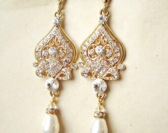 GOLD Bridal Earrings, Gold Chandelier Wedding Earrings, Gold Bridal Jewelry, Vintage Wedding Jewelry, JACQUELINE