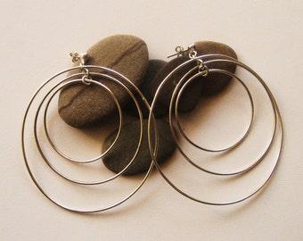 Silver hoops,Three dimension hoops, Sterling silver hoops