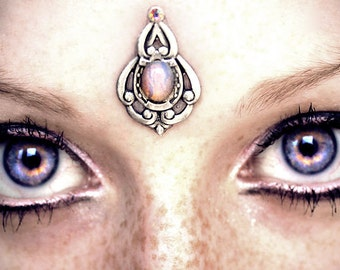 Psyche Bindi, bindi, tribal fusion bindi, bellydance bindi, third eye, opal bindi, pagan bindi, fantasy jewelry, boho bindi, festival
