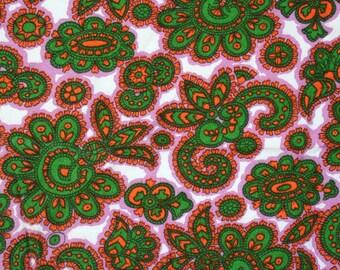 Yardage of very retro, boho fabric. Paisley, pink, kelly green, white, ornate.