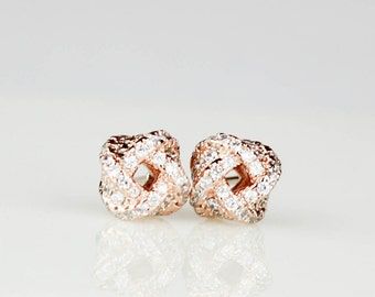 Rose Gold Knot Earrings, Bridesmaid Gift, Tie the Knot jewelry, Bridesmaid Earrings, Bridesmaid Jewelry