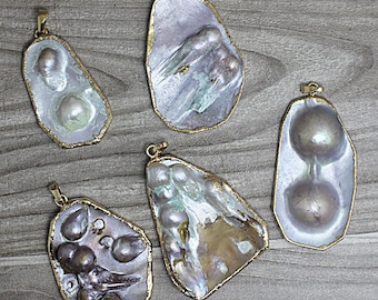 Mother of Pearl Shell Pendant With Gold Electroplated Edge Bail Pendant - (S38P14-1)
