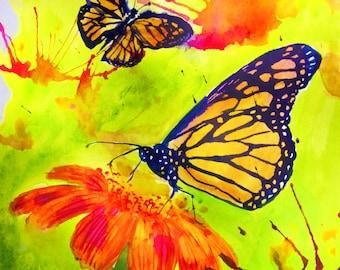 Original 8x10 watercolor painting by Laura Rispoli - Butterflies