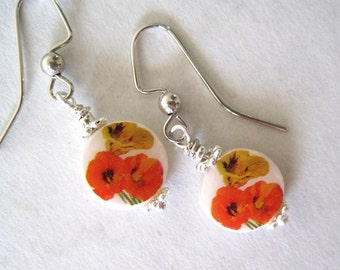 Red Poppies. Petite Mother of Pearl Earrings. Handmade.