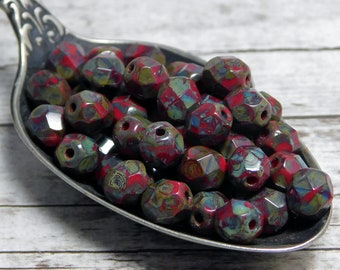 6mm - Picasso Beads - Czech Glass Beads - Fire Polished Beads - Round Beads - Red Beads - 25pcs - (4363)