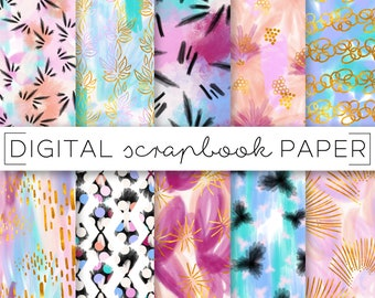 Neon Pastel Gold Print Abstract Pattern Digital Scrapbook Paper Watercolor Painterly Hand Drawn Boho Floral Textile Surface Art Background