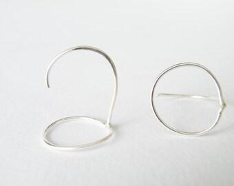 Delicate Sterling Silver Outlined Hoop Earrings Minimalist Geometric Stud Earrings by SteamyLab