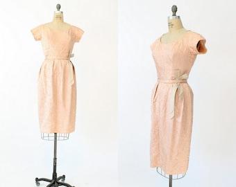 50s Dress Emma Domb Small / 1950s Vintage Ribbon Dress / Ribbon Amour Frock