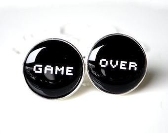 Game over cufflinks, timeless mens jewelry keepsake gift, classic cuff link accessories