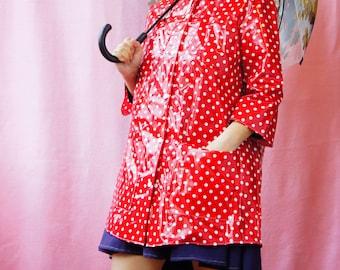 Polka Dot Rain Coat, Red and White, Handmade, Retro, Waterproof, Romantic, Gift for Her, Lined