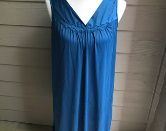 Vanity Fair - Knee Length Gown - Silky Gown - Blue Gown - Vintage