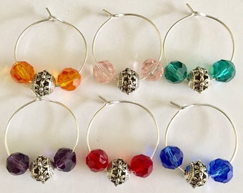 OOAK Faceted Glass Briolette Beaded Wine Glass Charms, Barware, Stocking Stuffers,Bunco Prizes, Tasting Party Favors