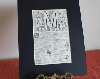 French Alphabet Print letter M 1939 vintage original mounted initial illustration matted page from Petit Larousse encyclopedia name gift