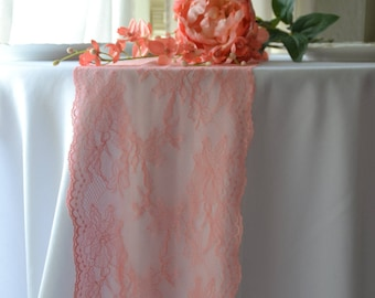 """Peach Lace Table Runner 8"""" wide 3 FT -16FT Length/not hemmed/Pink peach color/Free Samples available/Coral Peach color"""