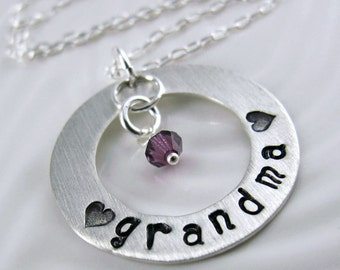 "Lots of Love Grandma Necklace - 1"" Hand Stamped Personalized Sterling Silver Donut, Swarovski Birthstone Crystals"
