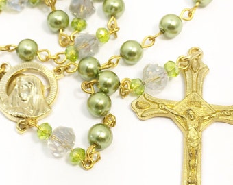 Olive Green Glass Pearl Rosary, Swarovski Pearls, Gold Plated Rosary, Catholic Rosary, Baptism, First Communion, Confirmation, Wedding
