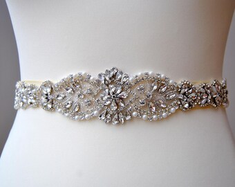 Crystal Luxury Bridal Sash,Wedding Dress Sash Belt, Rhinestone All around thin Bridal Bridesmaid Sash Belt, Wedding dress sash-LILIE