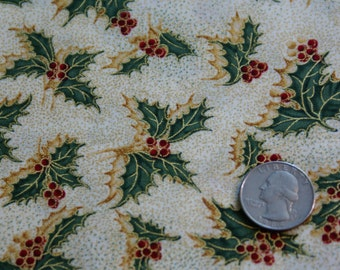 """3 1/8 Yards 44""""  Wide Cotton Christmas Holly Print"""