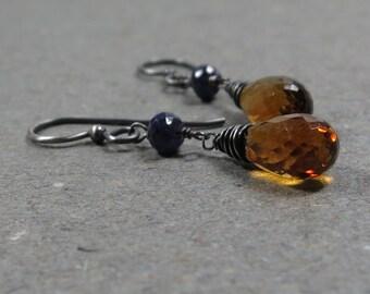 Madeira Citrine Earrings Blue Sapphires November, September Birthstone Oxidized Sterling Silver Dangle Earrings