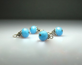 Vintage Style Bead Dangles Blue Glass Set of Four BL932