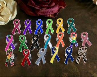 Ribbon Lapel Hat Pins / Pick Your Color / Cancer Survivor / Awareness Gift / Wedding Accessory