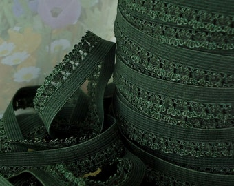 5yds Elastic band 1/2 inch Dark Green Picot Trim Skinny Elastic for Headbands Sewing lingerie Single sided Edging Elastic by the yard