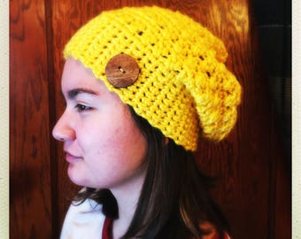 Crocheted Yellow Soft Chunky Slouchy Hat w/Buttons