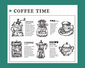 clear Stamp Set / Clear Stamps /coffee themed transparent stamps