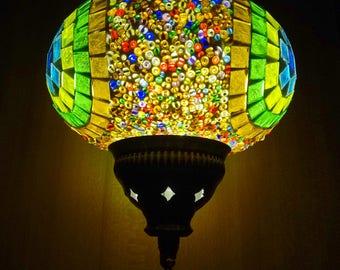 Turkish authentic colourful glass mosaic unique ceiling pendant lamp, hanging lamp.