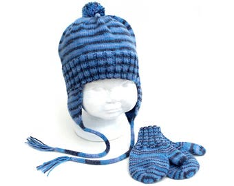 Earflap Hat and Mitten Set. Gender Neutral. Vegan Blue Stripe Aviator Hat. Boy's Striped Knit Cap. Thumbed Mittens With or Without Coat Cord