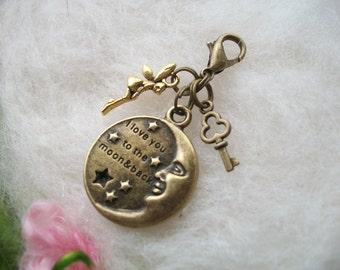 Zipper Charm Fairy Moon Love Zipper Pull, Zipper Gripper Personalize Stocking Stuffer, Antique Bronze Charms