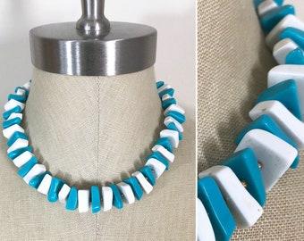 60s Crown Trifari MOD Turquoise White Geometric Bead Single Strand Choker Necklace